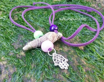 Necklace wood sea, hand of Fatima. Driftwood necklace