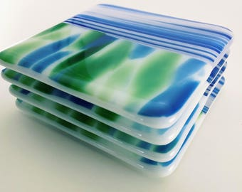 Blue,Green and White Fused Glass Coasters