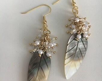 Leaf earrings shell earrings mordern earrings gift for her