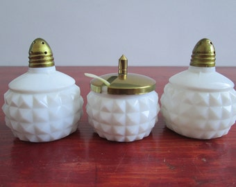 Vintage Made In Japan Hobnail Salt & Pepper Shakers And Jam Pot/Milk Glass Shakers/Milk Glass Sugar Pot