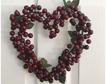 Burgundy Berry Heart Wreath. Heart Decor. Burgundy Heart. Berry Wreath.  Heart Wall Hanging. Gift of Love. Heart Gifts. Valentine's Day Gift