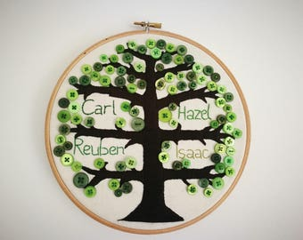 Hand embroidered family tree