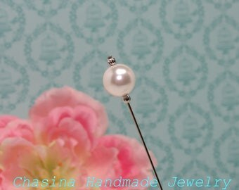 "12mm Swarovski Element White Pearl Silver Tone Hat Pin 6"""