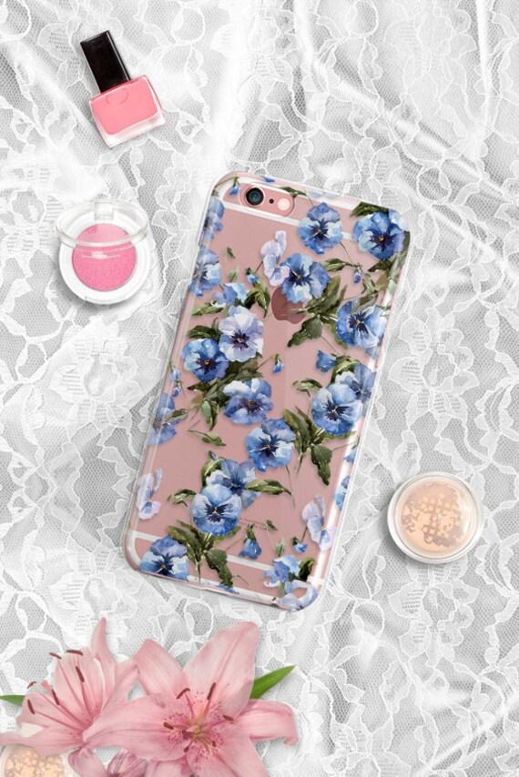 iPhone 7 Floral Clear Rubber Case Blue floral iPhone 7 Plus Clear Case iPhone 6 Case Rubber iPhone 6S Case iPhone SE Case Samsung S7 Case