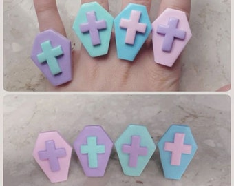Rest in Pastel pastel goth coffins rings
