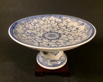 Vintage Chinese Blue and White Porcelain Pedestal Dish with Bats