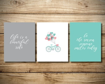Three Set Bicycle Print with Quotes