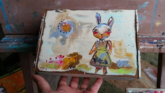 Wooden Box Painting. Rabbit. Folkart. Children. Home Decor