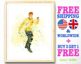 Star Trek Kirk Prints, Free Shipping, Watercolor Art, Home Decor, Kids Decor, Nursery Decor, Wall Art, Holiday Gifts -75