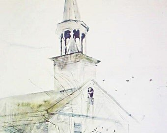 Andrew Wyeth Tolling Bell 1970 Original Collograph