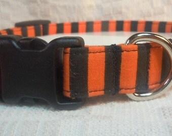 Sale Dog Collar /  Orange Dog Collar /  Dog Collar On Sale / Black and Orange Dog Collar / Striped Dog Collar