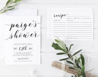 Printable Bridal Shower Invitation Set, Black and White Bridal Shower Invitation with Matching Recipe Card, Simple Modern Bridal Shower