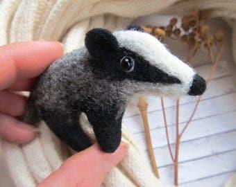 Badger cute gifts Needle animal miniature Animal love cute figurine Woodland felting Pretty pin jewelry Birthday girlfriend Present girl