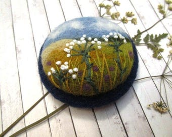 Needle felted brooch Unique gift ideas Gift for women Woolen jewelry Embroidered brooch Textile jewelry Mother gift Wool pin teacher gift