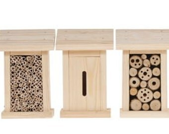 Insect hotel with filling, set of 5 (5 houses) garden decoration wooden kit school project handwork set natural wooden kit toy