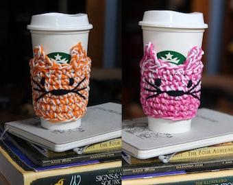 Crochet Custom Cat Coffee Cozy // To Go Vegan Cat Coffee Cup Cover // Coffee Cup Sleeve // Cat Lover Gift // Coffee Lover Gift