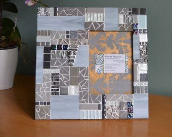 Grey mosaic picture frame