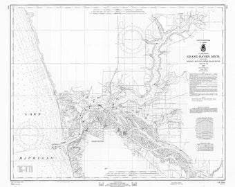 Lake Michigan - Grand Haven Map 1969 (b&w)