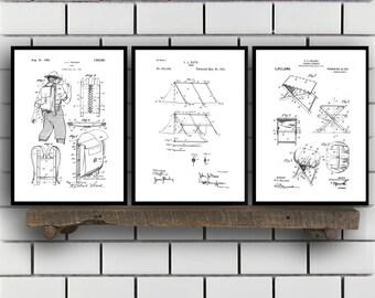 Camping Patent Prints, Camping Set of THREE, vintage Camping Invention Patent, Camping Poster, Camera Print, Camping, Camping Tent SP270