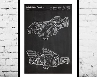 CANVAS Batman Batmobile, Batman Poster, Batman Patent, Batman Blueprint, Batman Wall Art, Batmobile