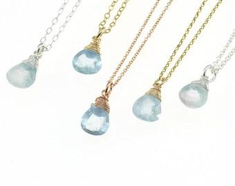 Aquamarine Necklace, March Birthstone Necklace, Aquamarine Jewelry, Birthstone Jewelry, Aquamarine Drop Necklace, Gemstone Necklace