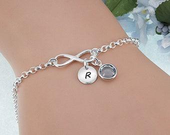 Infinity Bracelet Personalized, Initial Birthstone Bracelet, Friendship Bracelet, Silver Infinity Bracelet, Infinity Charm, Custom Bracelet