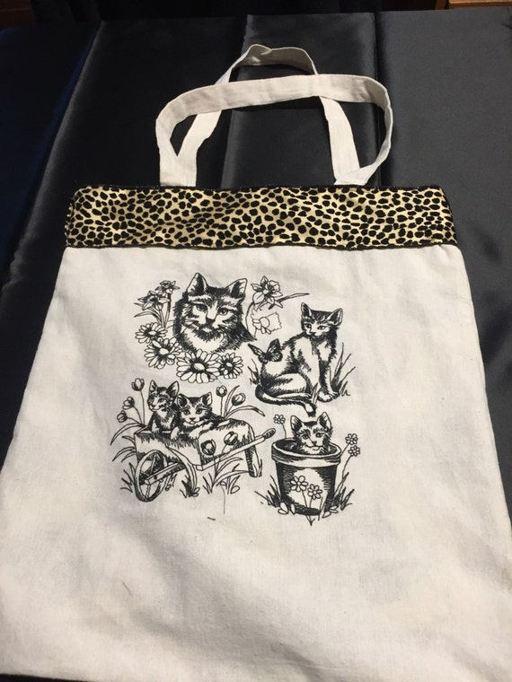 Embroidered tote bag with cats cotton canvas tote embroidered