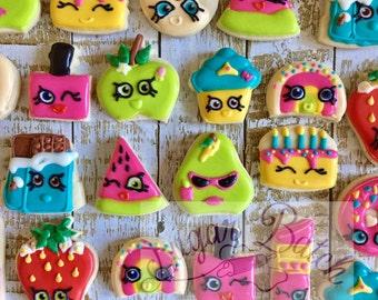 2 Dozen Shopkins Mini Decorated Cookies Set