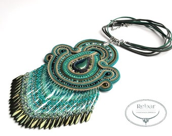 Original teal soutache necklace pendant with fringes. Fashion pendant, Tasteful Necklace, handmade jewelry Christmas gifts for her