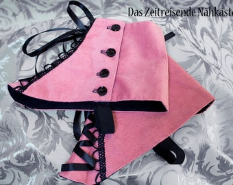 Pink velvet spats, with lacing, Gothic, Victorian