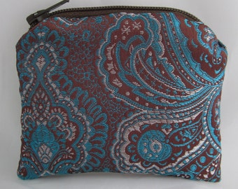Small Brown and Teal Brocade and Off White Satin Lined Coinpurse Coin Purse Pendulum Crystals Zipper Bag Pouch Fancy