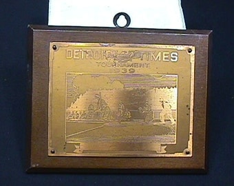 Vintage Dated 1937 a Detroit Times Baseball Tournament Plaque in Great Condition