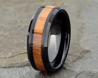 Black Tungsten Wedding Band, Wood inlay, Polished Beveled edge, Tungsten Wooden Ring, Mens Wedding Band, Black Mens Ring, Mens Ring,