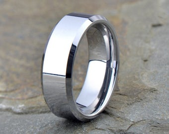 Tungsten Wedding Band, Polished Tungsten Ring, Beveled Edge, Comfort Fit, Ring, Band, Anniversary Ring, Engagement Ring, Free Engraving, 8mm