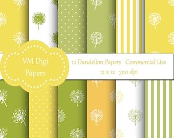 Dandelions Digital Paper, Dandelion Paper, Paper Dandelion, Dandelion background, Spring Paper, Digital Paper, Commercial Use, #2982