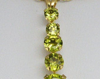 Peridot 10K Yellow Gold Journey Pendant With Chain, Peridot Pendant, August Birthstone, Pantone Color of the Year 2017