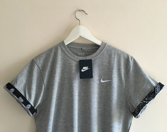 Unisex Authentic Grey Nike Custom Cut & Sew  Cuff Sleeve Tee's (Various Cuff Designs)