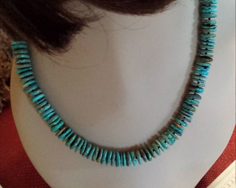 Natural turquoise flat beaded necklace