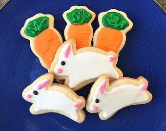 Labor Day/ back to school gift--customized party cookies--Easter Cookies,Bunny and Carrot Cookies - 12 decorated Easter sugar cookies