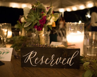 Rustic Wood Wedding Reserved Sign Hand Painted