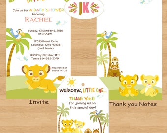 Baby Lion King Shower or Birthday Printed Invitations and more