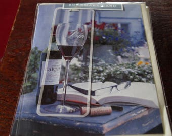 On Your Birthday Bookmark Card A Bottle and a Glass of Red Wine