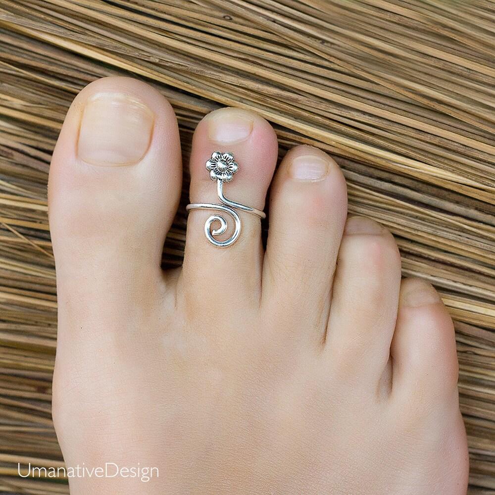 Sterling Silver Toe Ring Flower Toe Ring Adjustable Ring