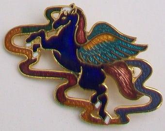 Unusual Cloisonne Blue & Turquoise Guilloche Enamel Mythological Pegasus Flying Horse Brooch