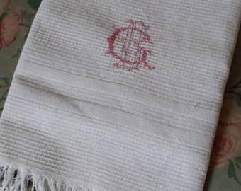 Antique Towels Plain White French Dish Cloth Fringed 1930's Waffle Cotton Monogrammed. tea towel. Torchon B.G or G.B