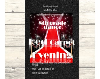 Hollywood Red Carpet Evening - School Dance/Prom Invitation/Homecoming/Card Customizable - Printable Digital Download