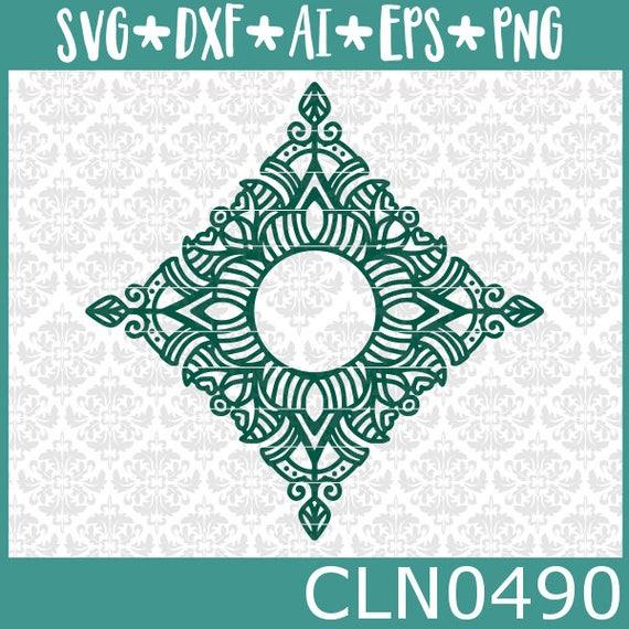 CLN0490 Diamond Mandala Monogram Fancy Intricate Zentangle SVG DXF Ai Eps PNG Vector Instant Download COmmercial Cut File Cricut Silhouette