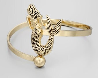 Gold Mermaid Wrap Cuff Bracelet