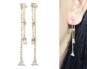 Cubic Zirconia Clip on earrings 14K.GP Dangle Wedding Crystal Clip on earring Fringe Tassel Bridal Rhinestone clip on earrings, Gift for her