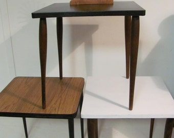 3-Mid Century Modern Bunching Nesting Stacking Scatter Tables